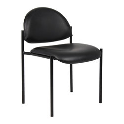 Boss Chairs - Boss Chairs Boss Diamond Stacking in Black Caressoft - Contemporary style. Powder coated steel frames. Tapered legs. Stackable for space saving storage space. Waterfall seat reduces stress on legs. Stacks 4 high. Upholstered in black Caressoft vinyl.