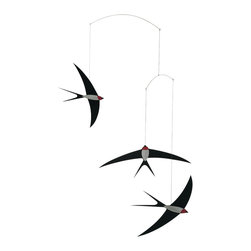 Flensted Mobiles - Swallow Mobile - Add a little flight pattern to your space with this contemporary mobile. Rendered in black, white and red, it captures the slender, streamlined silhouette of a swallow. The long, pointed wings allow them to glide gracefully with the slightest puff of air.