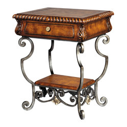 Ambella Home - Iron Artistry End Table - Your decor showcases strength and refinement equally. As does this impressive end table, magnificently crafted of richly finished wood, forged wrought iron and tooled leather.