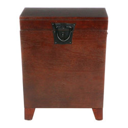 Holly & Martin - Holly & Martin Dorset Trunk End Table in Espr - Lid opens for lots of storage. Black metal hardware. Made from pine veneer, MDF with metal hardware. Espresso stain finish. Top surface: 20 in. W x 20 in. D. Storage area: 17 in. W x 17 in. D x 17 in. H. Leg length: 3 in.. Overall: 20 in. W x 20 in. D x 23.75 in. (42.86 lbs.). Assembly InstructionsWhat a combination of contemporary style and usefulness! This wooden trunk will not only help you organize your living room by giving you extra storage, but also look great. Black metal handles complete this simple design.