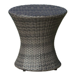 Great Deal Furniture - Lorenzo Outdoor Wicker Accent Table, Grey - The Lorenzo wicker outdoor accent table is stylish and convenient for your outdoor needs. With its contemporary shape, you can place it near your seating area to place snacks and beverages, or even use it as a stand for your garden. Made of environment-friendly synthetic wicker, you'll find many uses for this table.