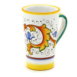 Artistica - Hand Made in Italy - PERUGINO: Tall Mug 16 oz. - PERUGINO Collection: The Perugino pattern is an Artistica's exclusive. It was inspired by the Deruta's classic Raffaellesco a design that traces his origins from the XVI Century graceful arabesques of painter Raphael famous frescoes.