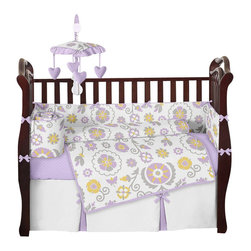 Sweet Jojo Designs - Lavender and White Suzanna 9-Piece Baby Crib Bedding Set by Sweet Jojo Designs - The  baby bedding by Sweet Jojo Designs includes: comforter, bumper, dust ruffle, fitted sheet, toy bag, pillow, diaper stacker and 2 window valances.