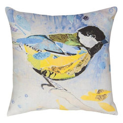 """Manual - Pair of """"Chickadee Sitting"""" Watercolor Print Indoor / Outdoor Throw Pillow - This pair of 18 inch by 18 inch woven throw pillows adds a wonderful accent to your home or patio. The pillows have (No Suggestions) weatherproof exteriors, that resist both moisture and fading. The pillows feature the same watercolor Chickadee bird print on both front and back. They have 100% polyester stuffing. These pillows are crafted with pride in the Blue Ridge Mountains of North Carolina, and add a quality accent to your home. Original artwork by Fabrice de Villeneuve. They make great gifts for bird lovers."""