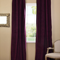 EFF - Eggplant Grommet Velvet Blackout Curtain Panel - Update the look of any room with these beautiful lined velvet curtain panels in purple. The eggplant color adds an elegant element to the space,and grommets add to the classy effect. Add the rod and finials of your choice for a customized look.