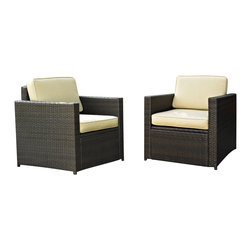 Crosley Furniture - Crosley Furniture Palm Harbor 2 Piece Outdoor Wicker Seating Set - Two Outdoor W - Lounge around on our elegantly designed all-weather wicker chairs. Finely crafted with intricately woven wicker over durable aluminum frames, these timeless pieces provides lasting comfort and style. Let your worries fade away as you doze off in our UV/fade resistant cushions.