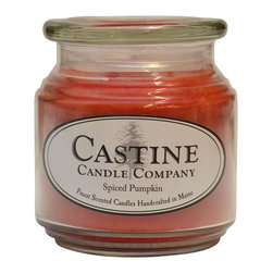 Castine Candle Company - Spiced Pumpkin 16oz Scented Castine Candle - Our 16oz candle jar gives scent of freshly baked pumpkins blended with the spices of nutmeg, cloves, cinnamon and sugar.   The perfect blend of fall scents.   A fantastically clean burn.   Color pumpkin orange.  Burn time 60-85 hours.