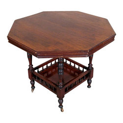 Antiques - Antique English Walnut Octagonal Centre Window Table - Country of Origin: England