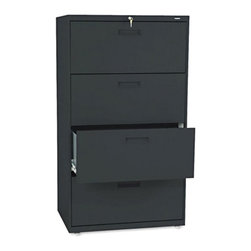HON - HON 500 Series 30 Inch Four Drawer Lateral File - HON574LL - Shop for File and Storage Cabinets from Hayneedle.com! The HON 500 Series 30-Inch Four-Drawer Lateral File allows you to securely store all your personal and business files and records. Designed for moderate office use this wide file cabinet has two generously sized drawers with side-to-side rails to hold both letter and legal hanging folders. A lock located in the center of the unit at the top locks the entire drawer more securely. The file cabinet's leveling glides are adjustable for uneven floors. This unit is available in your choice of putty black light gray or light charcoal finish. Delivered fully assembled. Dimensions: 30W x 19.25D x 53.25H inches.About the HON CompanyHeadquartered in Muscatine Iowa the HON Company is established as a leader in the office furniture industry. The HON Company designs and manufactures products including chairs files panel systems tables and desks. With several national manufacturing facilities the company provides products through a system of dealers and retailers throughout the United States.As the landscape of today's office and classroom continues to change with new technologies the HON Company has created office furniture teacher stations and student desks that anticipate and adapt to the newest waves of high-tech products. Additionally in an effort to think and act green the HON Company uses less packing material reduces their amount of fabric waste and uses recycled wood from other furniture.
