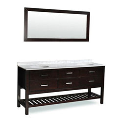 """Atlas International Inc - Bathroom Vanity - """"Nautica"""" Double Sink - The stunning Nautica double sink bathroom vanity is sure to become the centerpiece of your bathroom. The counter top is made from high quality heat and scratch resistant Carrera natural marble. Our cabinets have a solid high durability wood frame construction. This bathroom vanity has storage options including a bottom rack for easy access to stacked towels and other essentials, plus four soft closing pull-out drawers."""