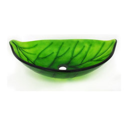 "Legion Furniture - Leaf Shaped Glass Vessel Sink - This leaf shaped bowl is made of high quality tempered glass. Sink is a solid green transparent glass with dark green veins.  Material: Double Layer Tempered Glass; Color: Solid Green Transparent Glass with Dark Green Veins; Dimensions: 22"" X 14.5"" X 5.5""; Thickness: 0.5""; Drain Hole: 1.75""; Weight: 17 lbs; Installation: Top Mount; Included: Chrome Pop-Up Drain and Mounting Ring; Not Included: Faucet."