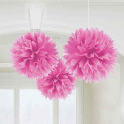Pink Pom-Pom Hanging Decorations - Add these pink pom-pom flowers to the party decor to make any Valentine's Day pretty.