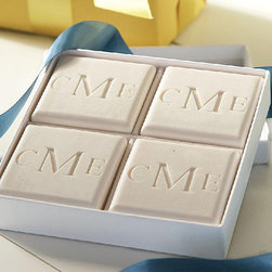 Frontgate - Monogrammed Triple Milled 4-Bar Square Soap Set - 100% vegetable based. Each bar of soap is 4 oz.. Soft, antique white color. Water-based fragrance is safe for sensitive skin and noses. Arrives in an elegant, white box made of 100% recycled chipboard materials with velvet-like interior. Replenish, enliven, and indulge with the very finest personalized soap from the Eco-Luxury Collection. Triple-milled for long lasting lather, the 4-bar Square Soap Set comes in a pleasant yet invigorating water-based aqua mineral scent. .  . . . . Soap and box are handmade in the USA.