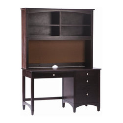 Bolton Furniture - Essex Pedestal Desk w Hutch in Espresso Finish - Includes pedestal desk and hutch. Assembly required. 1-Year warranty against manufacturing related issues. Desk: 52 in. W x 25 in. D x 30 in. H. Hutch: 52 in. W x 13 in. D x 42 in. H