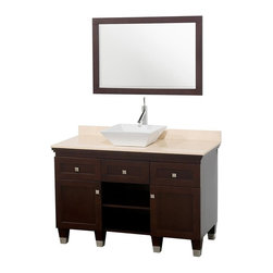 Wyndham Collection - Eco-Friendly Bathroom Vanity with Ivory Marble Top - Includes natural stone counter, backsplash, one vessel sink and matching mirror. Faucets not included. Engineered to prevent warping and last a lifetime. Highly water-resistant low V.O.C. finish. 12 stage wood preparation, sanding, painting and finishing process. Floor standing vanity. Deep doweled drawers. Fully extending bottom mount drawer slides. Soft close concealed door hinges. Single hole faucet mount. Plenty of storage space. Brushed steel leg accents. Metal hardware with brushed chrome finish. Two doors and two drawers. White porcelain sink. Made from zero emissions solid oak hardwood. Espresso finish. Vanity: 48 in. W x 22.5 in. D x 36 in. H. Mirror: 24.25 in. W x 36.25 in. HCutting edge, unique transitional styling. A bridge between traditional and modern design, and part of the Wyndham Collection Designer Series by Christopher Grubb, the Premiere Single Vanity is at home in almost every bathroom decor, resulting in a timeless piece of bathroom furniture.