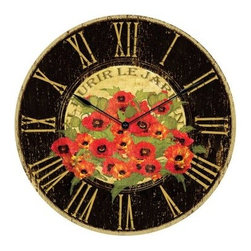 Infinity Instruments Le Jar din Red Poppy 24-in. Antique Wall Clock - Bring a piece of Paris home with the Infinity Instruments Le Jar din Red Poppy 24-Inch Antique Wall Clock. This clock features stunning bright red poppies that will make your garden jealous. Roman numerals grace the clock's face and smooth black metal hands will make sure you stay current with the time. About Infinity InstrumentsWhen you need a clock for your home Infinity Instruments offers infinite possibilities of high style at great prices. Located in La Crosse Wisconsin Infinity manufactures a huge selection of decorative clocks for both indoor and outdoor use. You can find clocks designed to make a bold statement in today's larger scale living areas as well as clocks that tuck easily onto a shelf desk or table. Infinity clock faces range from 10 to 38 inches and come in a dazzling array of traditional contemporary retro and thematic styles even handmade glass clocks from Italy. Infinity excels at creative use of materials such as resin wood wicker and metal to make it easy to add color and vibrant personal style to your living space. An Infinity clock is more than just an accessory; it's a piece of art that you use every day.