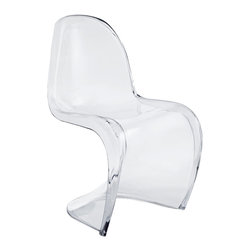 Modway - Slither Clear Dining Side Chair in Clear - Sleek and sturdy, rock back and forth in comfort with this injection molded marvel. Constructed from acrylic, the s shaped Slither chair can be found in many fashionable settings. Perfect for dining areas in need of a little zest, the design is versatile, fun and lively. Surprisingly cushy, choose from a selection of vibrant colors that wont fade over time. Slither is also perfect for spaces short on room.
