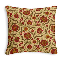 Red & Beige Suzani Corded Pillow - Black and white photos, Louis XIV chairs, crown molding: classic is always classy. So it is with this long-time decorator's favorite: the Corded Throw Pillow.  We love it in this eclectic swirling suzani in rust red & grass green on tan linen.