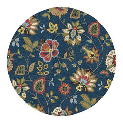 Jaipur Rugs - Jaipur Rugs Hand-Tufted Textured Wool Blue/Multi Round Area Rug // 8' Round - Styled with the sweeping fluidity of an ocean; this floral landscape was designed to express movement in nature and its looped surface a remembrance of the texture nature provides us . Bursts of color showcasing intricate details in petals, buds and paisley inspired leaves breathe excitement into this rug. A palette and pattern so striking and yet livable is sure to make a statement in any room.