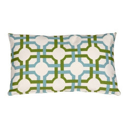 Pillow Decor - Waverly Groovy Grille Throw Pillow - For a pattern that will make you do a double-take, bring home this lively geometric throw pillow. With two patterns in one (can you see the polka dots through the grille?), this accent piece will add a structural yet comfortable sensibility to your room. Use it as a fresh contrast to a colorful couch or upholstered chair.