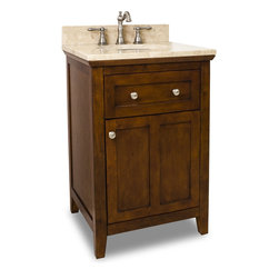 "Hardware Resources - Chatham Shaker Vanity - Chocolate - Chatham Shaker Vanity from Jeffrey Alexander . This 24"" wide solid wood vanity features a clean shaker design in a warm Chocolate finish. With a top drawer fitted around plumbing and spacious cabinet with adjustable shelf, there is plenty of storage space. Drawers are solid wood dovetailed drawer boxes fitted with full extension soft close slides, and cabinet features integrated soft close hinges. This vanity has a 2.5 cm engineered Emperador Light marble top preassembled with an H8809WH (15"" x 12"") bowl, cut for 8"" faucet spread, and corresponding 2 cm x 4"" tall backsplash. Vanity: 24"" x 22"" x 36"" (with top). Style: Transitional. Finish: Chocolate. Materials: Birch solids and veneers. Top: 2.5 cm engineered Emperador Light marble with 2 cm x 4"" tall backsplash. Bowl: H8809WH. Coordinating Mirror: MIR090-24."