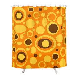 Crash Pad Designs - Mid Century Modern  Shower Curtain - Pip - Outfit your decor with vim and vigor when you employ this playful shower curtain for a pop of color in your bathroom. The bright, mod pattern is printed on this 100 percent polyester curtain, which features 12-stitched button holes for hanging.