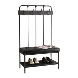 Monarch - Metal 60in.H Hall Entry Bench, Charcoal - Industrial metal meets fashionable functionality with this gorgeous charcoal grey metal 60 in. H entry bench. 4 double coat hooks, a large storage shelf and a thick padded seat add extra comfort when removing your shoes after a busy day.