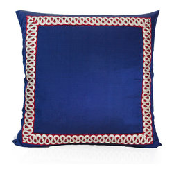 Pyar&Co - Amaltas, Navy - Your exquisite eye for detail will show with this elegant addition to your sofa, bench or bed. The pillow is made of silk then bordered in velvet that sports a continuous hand-stitched serpentine pattern.