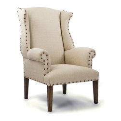 Zentique - Wing Back Chair - Whether you're outfitting your den or living room, a cozy wingback chair is the perfect addition. Classic nailhead detail complements the rich tufted (or not tufted) upholstered linen back. Pair this with a beautiful lamp and curl up with a good book.