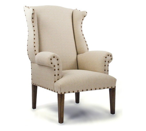Zentique - Nailhead Wingback Chair - Whether you're outfitting your den or living room, a cozy wingback chair is the perfect addition. Classic nailhead detail complements the rich tufted (or not tufted) upholstered linen back. Pair this with a beautiful lamp and curl up with a good book.