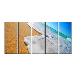 Vibrant Canvas Prints - Photo Canvas Prints, Framed Huge Canvas Print 5 Panel Sea Beach on Giclee Canvas - This is a beautiful, 100% quality cotton canvas print. This print is perfect for any home or office, and will make any room shine with its addition of color and beauty.  - Free Shipping - Modern Home and Office Interior Decor   Beach Wave Canvas Designs - 5 Panel Print   Beach Water Wave Print on Canvas - Wall Art - 30 Day Money Back Guarantee.