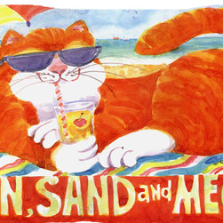Caroline's Treasures - Orange Tabby At The Beach Fabric Standard Pillowcase Moisture Wicking Material - Standard White on back with artwork on the front of the pillowcase, 20.5 in w x 30 in. Nice jersy knit Moisture wicking material that wicks the moisture away from the head like a sports fabric (similar to Nike or Under Armour), breathable performance fabric makes for a nice sleeping experience and shows quality.  Wash cold and dry medium.  Fabric even gets softer as you wash it.  No ironing required.