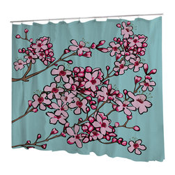 Uneekee - Uneekee Cherry Blossoms Shower Curtain - Your shower will start singing to you and thanking you for such a glorious burst of design as you start your day!  Full printing on the front and white on the back.  Buttonhole openings for shower rings.