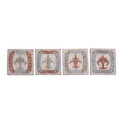 UMA - French  Country Wall Plaques Set of 4 - A set of four wall plaques arranged horizontally feature distressed colors and the classic fleur de lis design