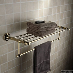 "24"" Polished Brass Towel Bar With Shelf - Feature:"