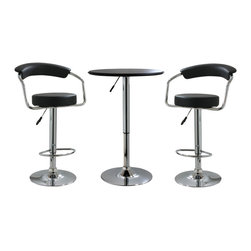 Buffalo Tools - AmeriHome 3 Piece Adjustable Height Bar Set - 3 Piece Adjustable Height Bar Set by AmeriHome The AmeriHome 3 Piece Adjustable Height Bar Set includes two adjustable height bar stools and one adjustable height bar table. The polished chrome base and black vinyl seats are reminiscent of the days of diners and drive-ins. Add a hint of classic retro design to your kitchen, bar, game room, basement, or shop. The 3 Piece Adjustable Height Bar Set is comfortable for kids and adults to sit together. The bar stools have a large 13.5 inch wide, vinyl padded, 360 degree swivel seat, a padded vinyl backrest, and a built in footrest. The Adjustable Height Bar Table measures 25 inches in diameter, with a black textured vinyl covering on the tabletop that makes wiping up spills easy.  Bar stool adjustable height: 22 to 30 in., bar stool weight capacity: 330 lbs. Bar table adjustable height: 26 to 36 in., bar table weight capacity: 200 lbs. Includes 1 adjustable bar height table and 2 adjustable counter height bar stools Makes a great addition to your kitchen, bar, game room, or basement Classic retro style Bar stool specs: adjustable height from 25 to 33.5 in., max seat back height 42.25 in., padded vinyl backrest and built in footrest, 13.5 in., vinyl padded, 360 degree swivel seat, 330 lbs. weight capacity each Bar table specs: 25 in. diameter table top with textured vinyl covering, adjustable height from 26 to 36 in., 200 lbs. weight capacity each
