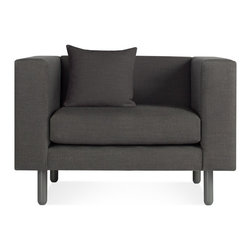 Blu Dot - Blu Dot Mono Lounge Chair, Grey - Streamline simplicity. One cushion, one color, one throw pillow – all dreamy. Solid wood legs are painted to match the upholstery. Available in two monochromatic finishes