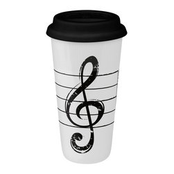 Konitz - Set of 2 Large Travel Mugs Treble Clef on White - The mug for the music lover. Give the musician in your life one of these fabulous Treble Clef mugs. Chic black-and-white design.