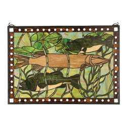 """Meyda - 28""""W X 19""""H Pike & Bass Stained Glass Window - Like a fine painting, this beautifully executed stainedglass window features a sportsman's dream with colorfulfish designs that capture bass and pike."""