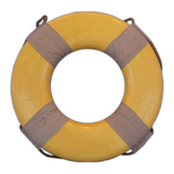 """Handcrafted Nautical Decor - Vintage Yellow Lifering 18"""" - Decorative Life Ring - Perfect for bringing patriotism and nautical lifestyle into your home or office, the Decorative Vintage Yellow Lifering 18"""" is the ideal piece to create that soothing ocean mood in any home or office. Lightweight foam construction themed after traditional yellow lifering color scheme. Transform any room into a seaworthy experience without the water. The 18"""" lifering has weathered canvas straps securing the grab rope to the lifering giving the appearance of many years out at sea."""