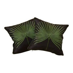"Best Selling Home Decor - 18"" Light Green Embroidered Pillows (Set of 2) - Give your home an update with this attractive pillow set. These pillows feature a linen blend cover for soft elegance. Set includes: Two pillows; Pattern: Embroidered; Color options: Dark Brown, Light Green; Cover closure: Hidden zipper closure; Edging: Knife edge; Pillow shape: Square; Dimensions: 18 inches wide x 18 inches long; Cover: Linen Blend; Fill: 100-percent Polyester; Care instructions: Spot clean with a damp cloth."