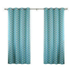 "Best Home Fashion - Plus Print Room Darkening Grommet Top Curtain 84""L - 1 Pair, Ocean - Our simple plus print curtains will instantly modernize your home decor."