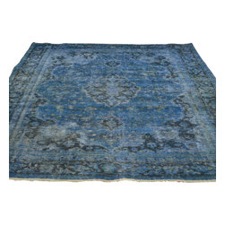 Denim Blue Overdyed Old Worn Persian Tabriz 7'x9' Hand Knotted Rug Sh17664 - The Overdyed and Patchwork hand knotted rug, represents one of the hottest trends in the industry today. Each Overdyed rug is stripped of its original colors, then dyed again in vibrant hues, to create unique and one-of-a-kind pieces. The Patchwork rug is handcrafted out of salvaged, vintage carpets, with a variety of colors combining to form a wholly unique and textured design.