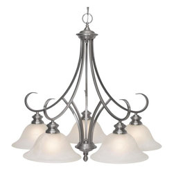 Golden Lighting - PW D5 5 Light Single Tier Down Light ChandelierLancaster Collection - Golden Lighting's Lancaster Collection features a transitional style of decorative lighting that is perfect for traditional to soft modern settings.