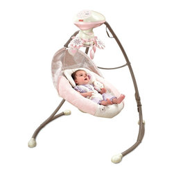 Fisher-Price - Fisher-Price My Little Sweetie Deluxe Cradle Swing - W9510 - Shop for Baby Swings from Hayneedle.com! Every little princess deserves their own throne but not even Elizabeth gets one that moves in two directions like the Fisher Price My Little Sweetie Deluxe Cradle Swing. This deep comfy seat swings front-to-back or side-to-side at one of six different swing speeds. A delicate flower mobile entertains them from above while a selection of songs and nature sounds help them relax. The seat pad and infant support are machine-washable and dryer safe. This swing requires 4 D batteries but a plug-in option gives you the option to use an outlet as well. About Fisher-Price As the most trusted name in quality toys Fisher-Price has been helping to make childhood special for generations of kids. While they're still loved for their classics their employees' talent energy and ideas have helped them keep pace with the interests and needs of today's families. Now they add innovative learning toys toys based on popular preschool characters award-winning baby gear and numerous licensed children's products to the list of Fisher-Price favorites.