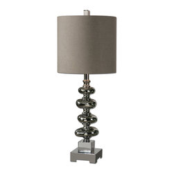 Uttermost - Anoka Nickel Table Lamp - Isn't it time you shed some light on your impeccable style? This glossy, gobbet table lamp should do it.  Topped with a sophisticated gray-linen drum shade, four polished nickel bubbles offer a reflective sheen to the setting. Light up your living room or dining room buffet with this showpiece table lamp.