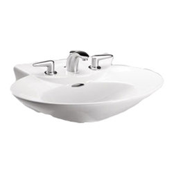 Toto - Toto lpt908n Cotton White Pacifica Pedestal Lavatory, Sink Only Single Hole - The Toto LT908#01 is a Pedestal Lavatory Sink Only, In the Pacifica Suite From Toto USA. The Toto LT908#01 Has Holes to Mount Single Hole Faucet and comes in Cotton White Finish