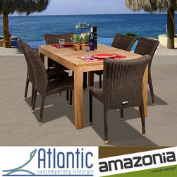 Amazonia - Amazonia 'Hamilton' Teak 7-piece Dining Set - Entertain guests on your stylish patio with this seven-piece outdoor dining set. One rectangular table and six stacking chairs are constructed of aluminum, teak, and synthetic wicker. A weather-resistant finish ensures years of enjoyment.