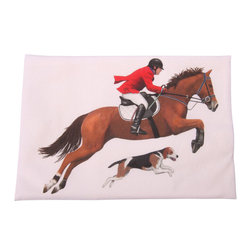 Jumping Horse and Beagle Printed Flour Sack Dish Towel - The flour sack dish towel is 100% white cotton. The actual size 30 X 30 inches. The towel has a printed design featuring jumping horse, rider and Beagle dog design. The beautiful design is done by artist Mary Lake-Thompson. Great for drying dishes and cleaning up! Machine wash cold in gentle cycle.