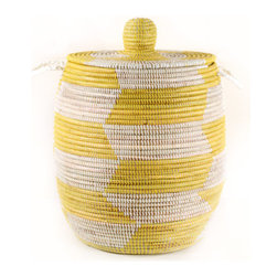 Large Senegalese Lidded Basket/Hamper, Yellow - These baskets are so pretty; they never get old. You could use it as a super nice laundry basket, as extra storage or just for decoration.